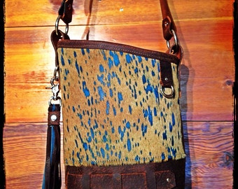 Limited Edition turquoise cowhide purse