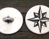 Compass Rose Star Pewter Shank Buttons | Pirate Buttons | Star Buttons | Compass Rose Buttons | Metal Shank Buttons | Treasure Cast Pewter