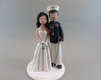 Unique Cake Toppers - Bride & Groom Military Custom Wedding Cake Topper