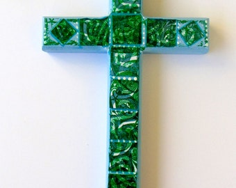 Decorative Wood Cross, Blue and green wood cross, Decorative wall art, Decorative wall cross