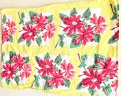 Vintage Linen Tea Towel Bright Vibrant Yellow with Red Flowers and White Green - Free Shipping
