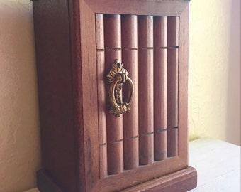 Vintage Musical Wood Jewelry Box Mini Bookshelf Wooden