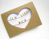 German Father's Day Card - Love Card Him - Paper Cut Love Card - Deutsch Love Card - I Love You Card - Ich Liebe Dich - German Greeting Card