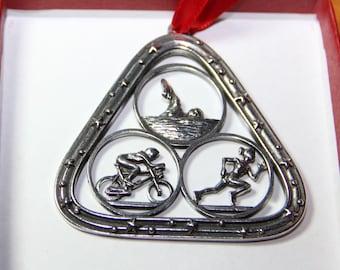 Triathlon Ornament in Triangle - Bicycle Ornament - Female