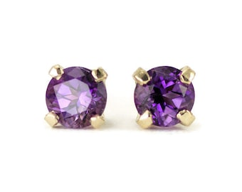 14k Gold Amethyst Studs - February Birthstone Gold Post Earrings - 4 mm or 5 mm