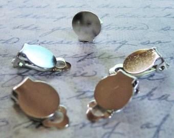 50 Silver Tone Earring Clips (25 sets) 18 x 10mm, Earring Blanks (07-26-593)