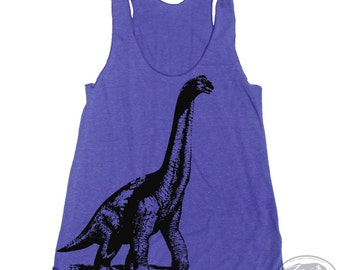 Women's DINOSAUR -hand screen printed Tri-Blend Racerback Tank Top xs s m l xl xxl  (+Colors) Zen Threads