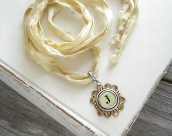 Typewriter Key Jewelry SALE. Letter J Necklace. Vintage Typewriter Key Necklace. Long Boho Sari Silk Ribbon Necklace. Upcycled Eco Friendly.