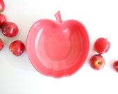 Hazel Atlas Orchard Blossom Bowl / Mid Century Pink Apple Serving Bowl / Retro Milk Glass Serving Dish / Pink Milk Glass Serving Bowl