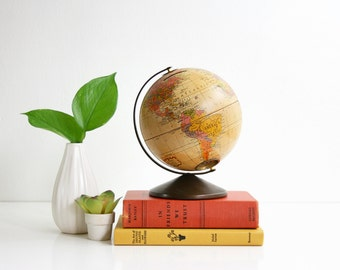 Mid Century Metal Lithograph Globe Bank by Replogle / The Revere Vintage Globe