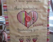 Mini Wall Quilt, Fabric Wall Hanging,  Valentine Gift,  Fabric Collage, Textile Art, Scappy Quilt,