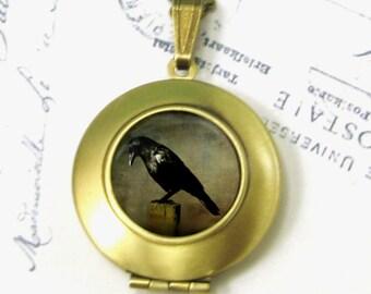 Raven Locket Antiqued Brass Necklace Crow Jewelry Keepsake