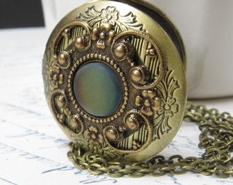 Mystical Stone Keepsake Locket, Color Shift Locket, Magic Stone Necklace, Color Change Jewelry, Antiqued Brass Locket