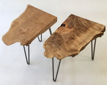 Mid Century Modern Style Natural Live Edge Side Table - Solid Maple Burl - Organic Shape