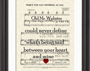 When You Say Nothing At All Song Lyric Sheet Music Art Print, Custom Wedding, Custom Anniversary, Names and date, Love Song Art, First Dance