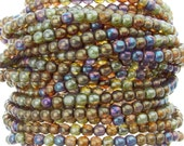 4mm Transparent Rainbow Topaz Lumi Luster Czech Glass Round Beads - Qty 50 (AW14)