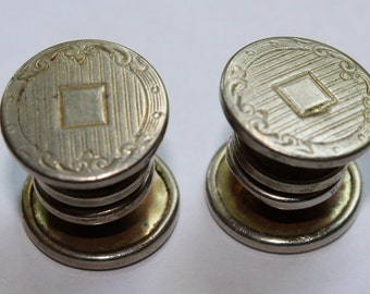 Antique SNAP GRIP Cuff Links, Dated 1908, Silver Metal, Made by Korker