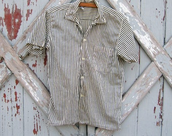 vintage striped cotton top M L XL