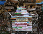 Reversible Multi Colored Strip Pieced Bib Apron - Tall