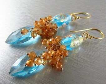 End Of Summer Sale Lampwork and Blue Quartz Gemstone Earrings - Cluster Lamp Work and Gold Filled  Earrings
