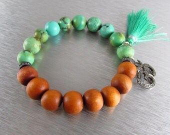 Turquoise and Sandlewood With Pave Stretch Bracelet, Tassle Bracelet, Layering Bracelet, Bohemian Bracelet