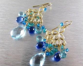 20 % Off Blue Gemstone Gold Filled Chandelier Earrings