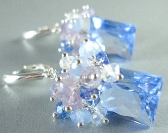 BIGGEST SALE EVER Blue Quartz, Lavender Opal, Blue Chalcedony, Topaz and Crystal Gemstone Sterling Silver Earrings