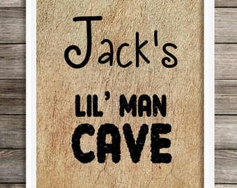 Personalized Lil' Man Cave Print, Nursery Decor Boy, Boys Wall Art, Kids Bedroom Decor, Nursery Poster, Nursery Wall Art, Little Man Cave