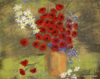 8 x 10 PRINT of Red Poppies in a Vase Still Life by Joan Princing Art