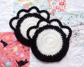 Crochet Doily Coaster - Cat Paw 1 Piece - Black x White