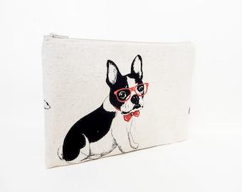 Pouch, Zipper Pouch, Fabric Pouch, Pencil Pouch, Cosmetic Pouch, Coin Purse, Change Pouch, Zipper Case, Dog Pouch, Bulldog Pouch, Pouch