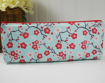 Long Zipper Pouch, Long Zipper Pouch, Long Pencil Case, Pencil Pouch.. Cherry Blossoms in Aqua