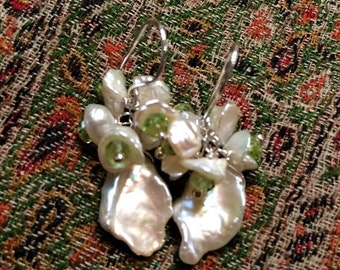 MOTHERS DAY SALE Keishi Pearl Cluster Earrings Wire Wrap Sterling Silver Peridot Green and White Pearl Earrings Wedding Bridesmaid Peridot G