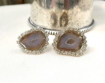 Baby Geode Stud, Tabasco Geode Stud Earrings Taupe Druzy Slice Diamond Look Bezel Swarovski Crystal - Leslie