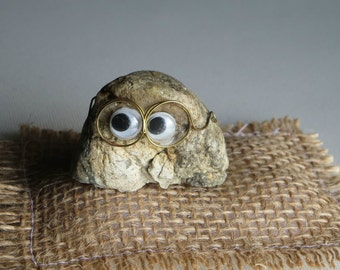 Pet rock wearing glasses with natural smile and burlap pillow bed