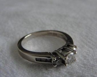 vintage 14k white gold engagement ring diamond size 5.75