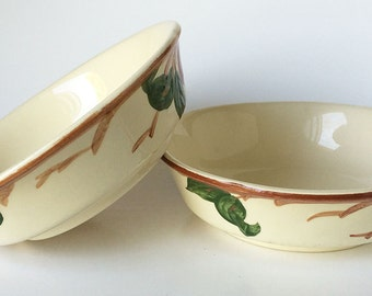 Pair of Vintage Franciscan Apple Serving/Vegetable/Soup Bowls, Red Apple, Made in USA, Ceramic