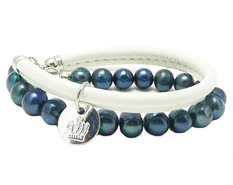 Hand crafted Leather and Freshwater Pearl Wrap Bracelet andyANDmolly