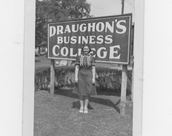 original 1930-40s photo. a girl at Draughon's business college