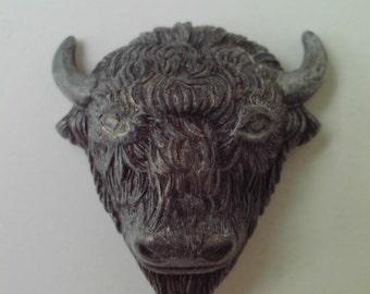 Miniature Metal Bison Buffalo Bull Head Decorative Craft Supply