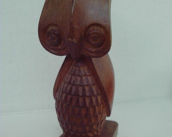 Vintage Stylized Carved Wooden OWL Unique Collectible Hand carved 1970s