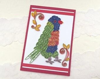Bird Card- Paper Quilling - Paper Quilled Rainbow Lorikeet Bird- Birthday Congratulations -Bird Lover -Lime Green-Red Handmade- Australia