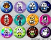 "Undertale Pixel Art Pins or Magnets 1.5"" Set # 2 - Sans 