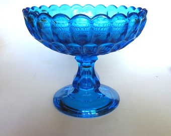 Fenton Glass Colonial Blue Thumbprint Footed Bowl  Mid-Century Fun