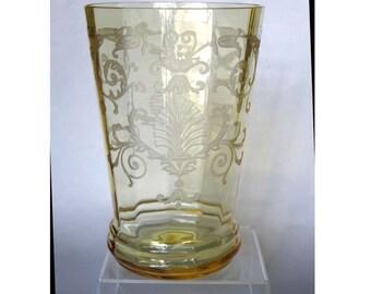 1930's Fostoria Glass Topaz Yellow Versailles Etched Large Vase #4117 RARE