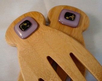Purple Dichro  Bamboo and Glass Salad Tongs