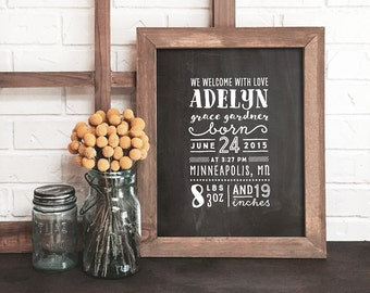 personalized chalkboard birth announcement print, personalized birth print, nursery decor, personalized baby gift, nursery art