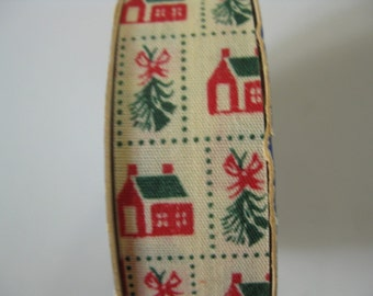 Vintage Ribbon, Christmas Ribbon, Christmas Stamp Design, 3 Yards of Ribbon on Original Roll