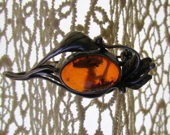 Vintage Amber and Sterling Brooch Art Nouveau Design