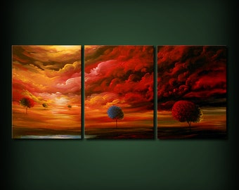 art painting triptych landscape red sky tree painting abstract landscape art original painting 54 x 24
